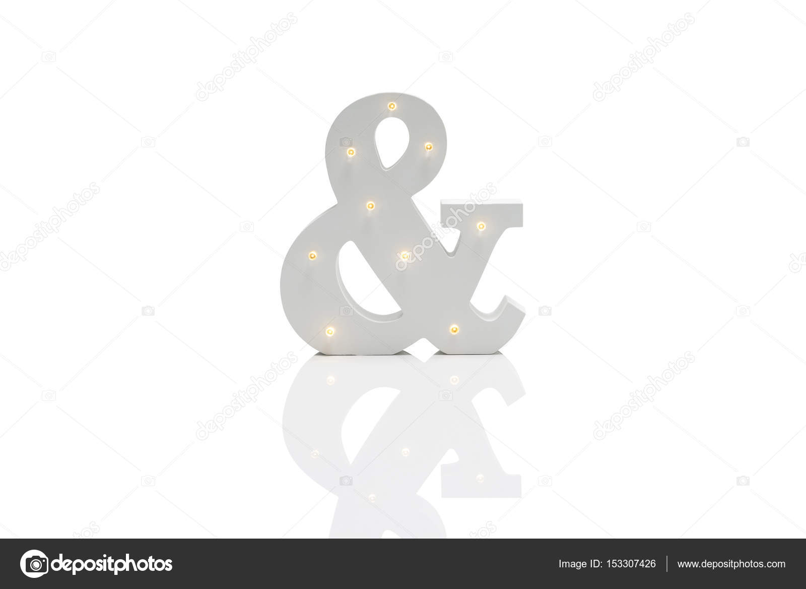 Decorative Ampersand with Embedded LED Lights Over White Backgro ...
