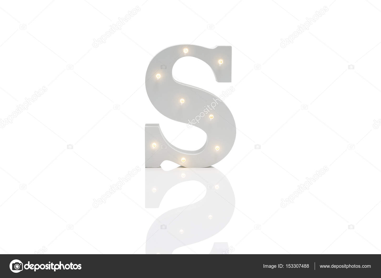 Decorative Letter S with Embedded LED Lights Over White Backgrou ...