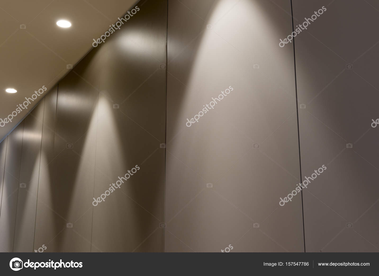 Office Interior Panel Wall With Overhead Lighting U2014 Stock Photo