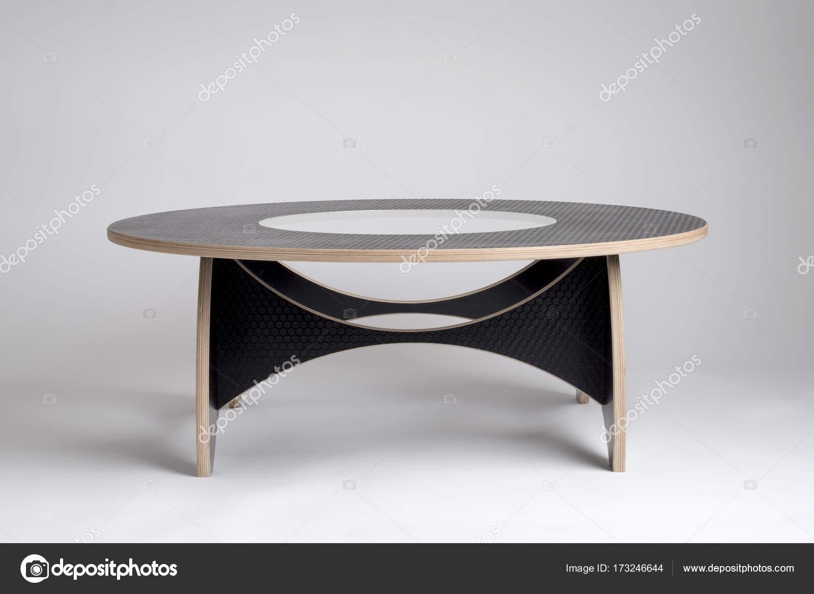 Tavolo rotondo design moderno in vinile nero con motivi a ...