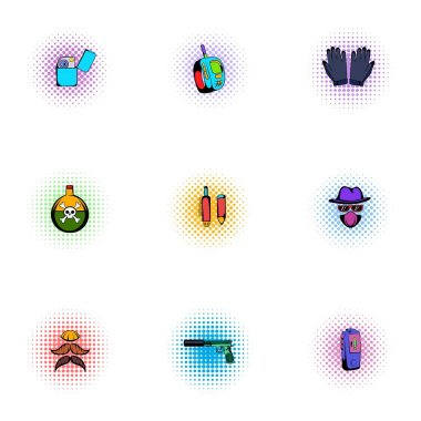 Search Illegal action icons set, pop-art style