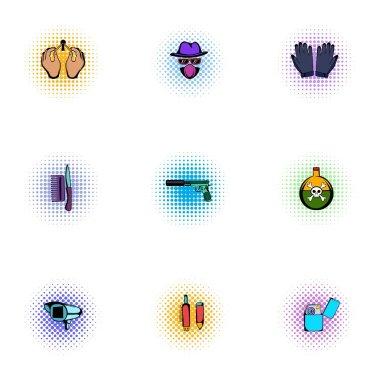 Manhunt icons set, pop-art style