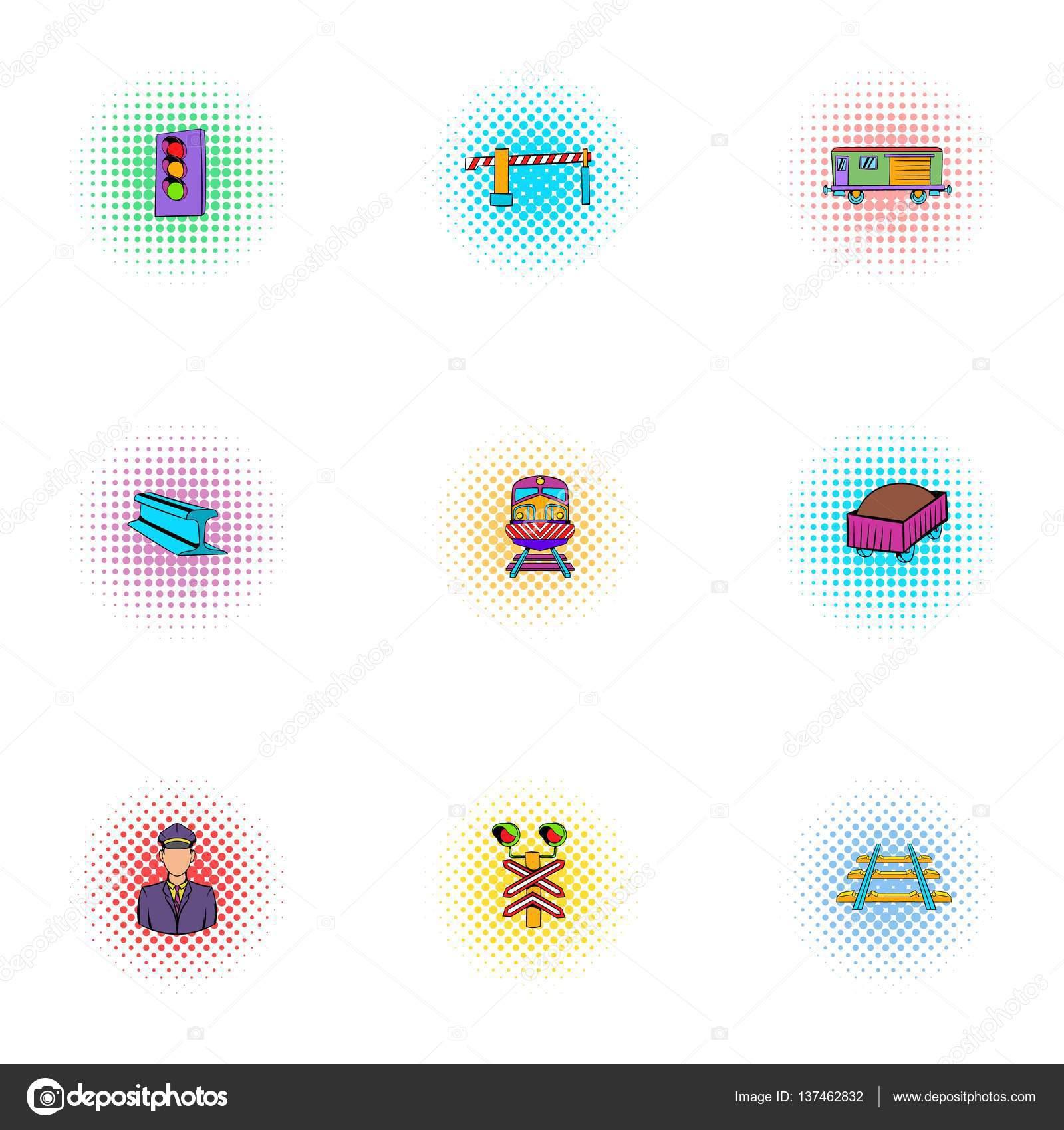 Elektrische Symbole Zugverband, Pop-Art Stil — Stockvektor ...