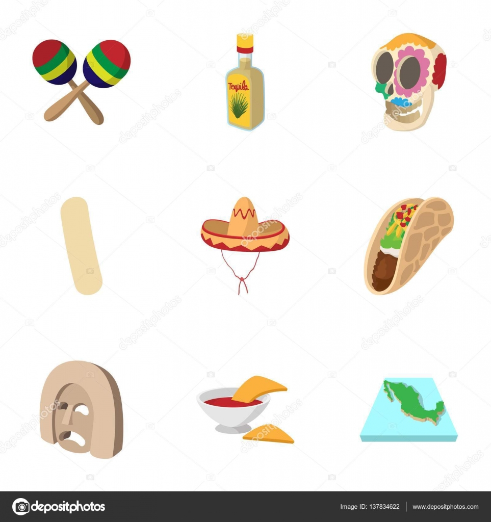 9eff722574c2 Vacances au Mexique icônes ensemble, style cartoon — Image vectorielle