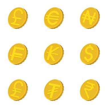 Types of money icons set, cartoon style