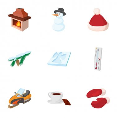 Winter icons set, cartoon style