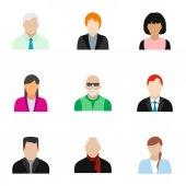 Avatar emberek ikonok készlet, lapos stílusú