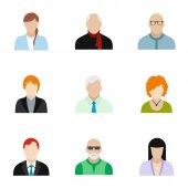 Különböző avatar ikonok készlet, lapos stílusú
