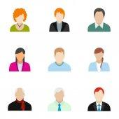 Típusú avatar ikonok, a stílus lapos