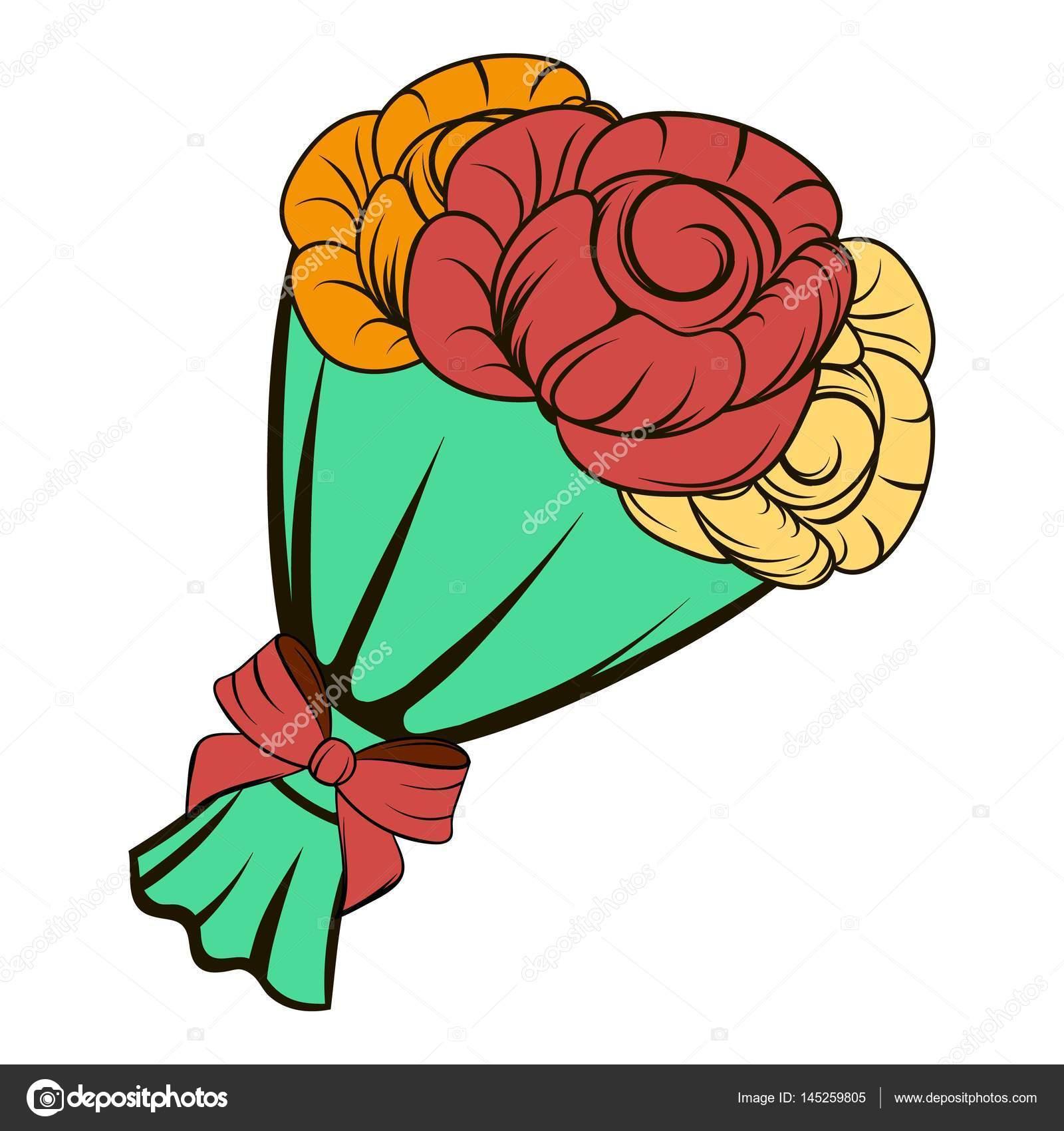 Bouquet Of Roses Icon Cartoon Stock Vector Juliarstudio 145259805