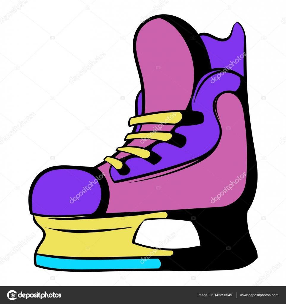 Хоккей на льду коньки значок, значок мультфильм — стоковый вектор