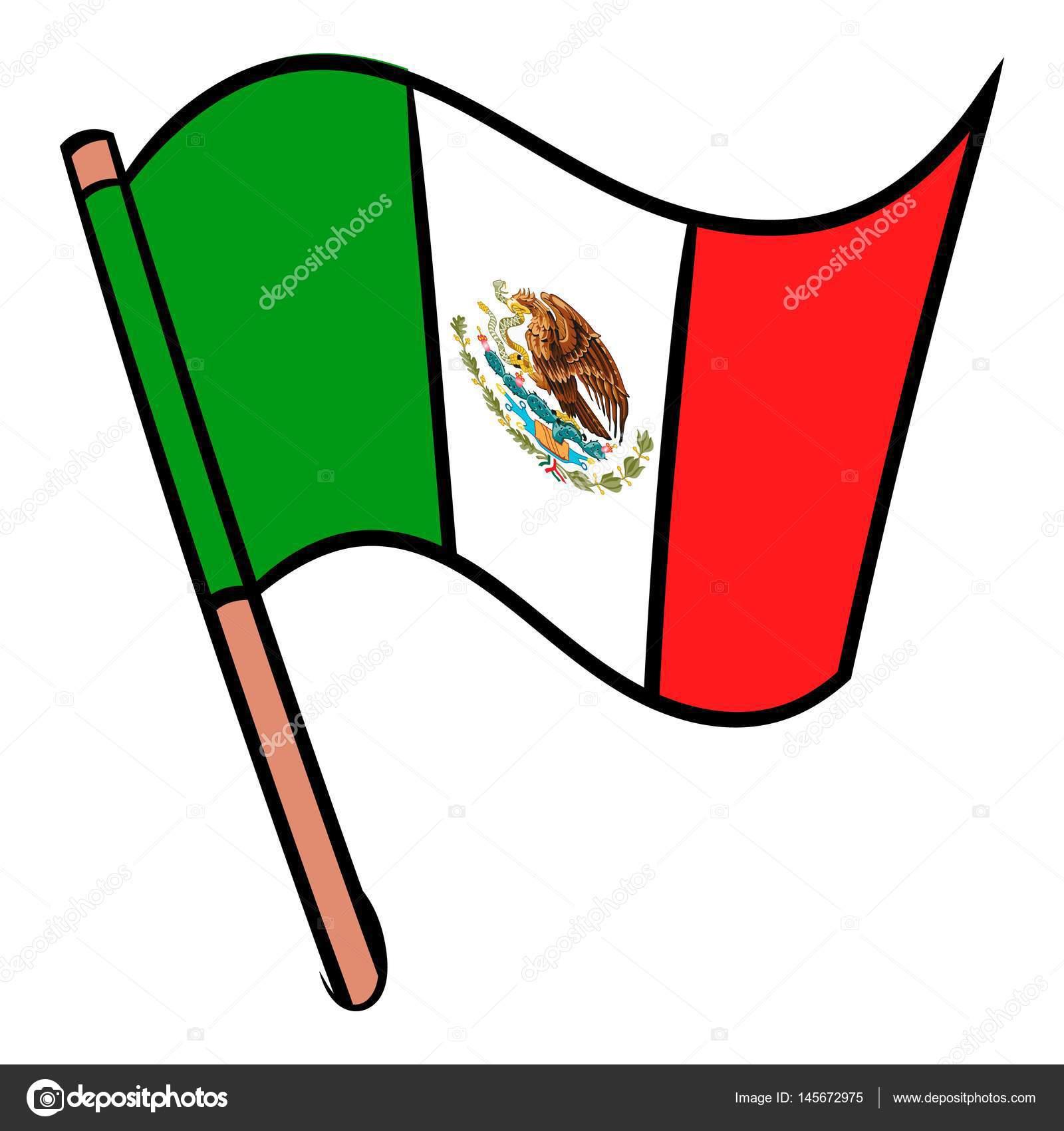 Bandera De México Icono De Dibujos Animados Archivo Imágenes