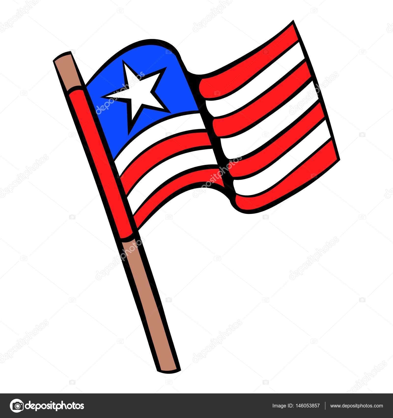 Dibujos De Animados Icono Bandera De Estados Unidos Archivo