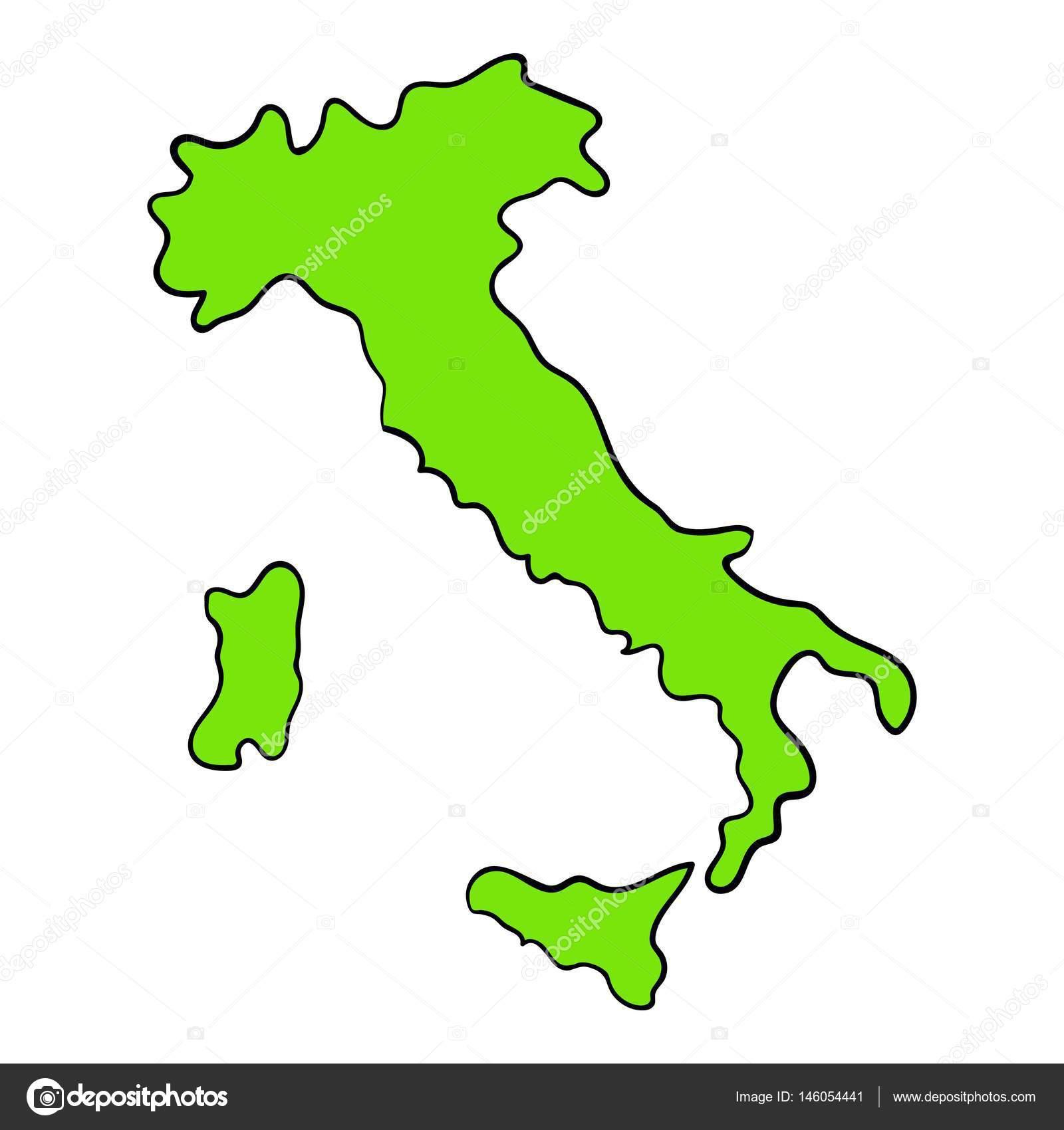 Dibujos animados de icono de mapa verde Italia — Archivo Imágenes