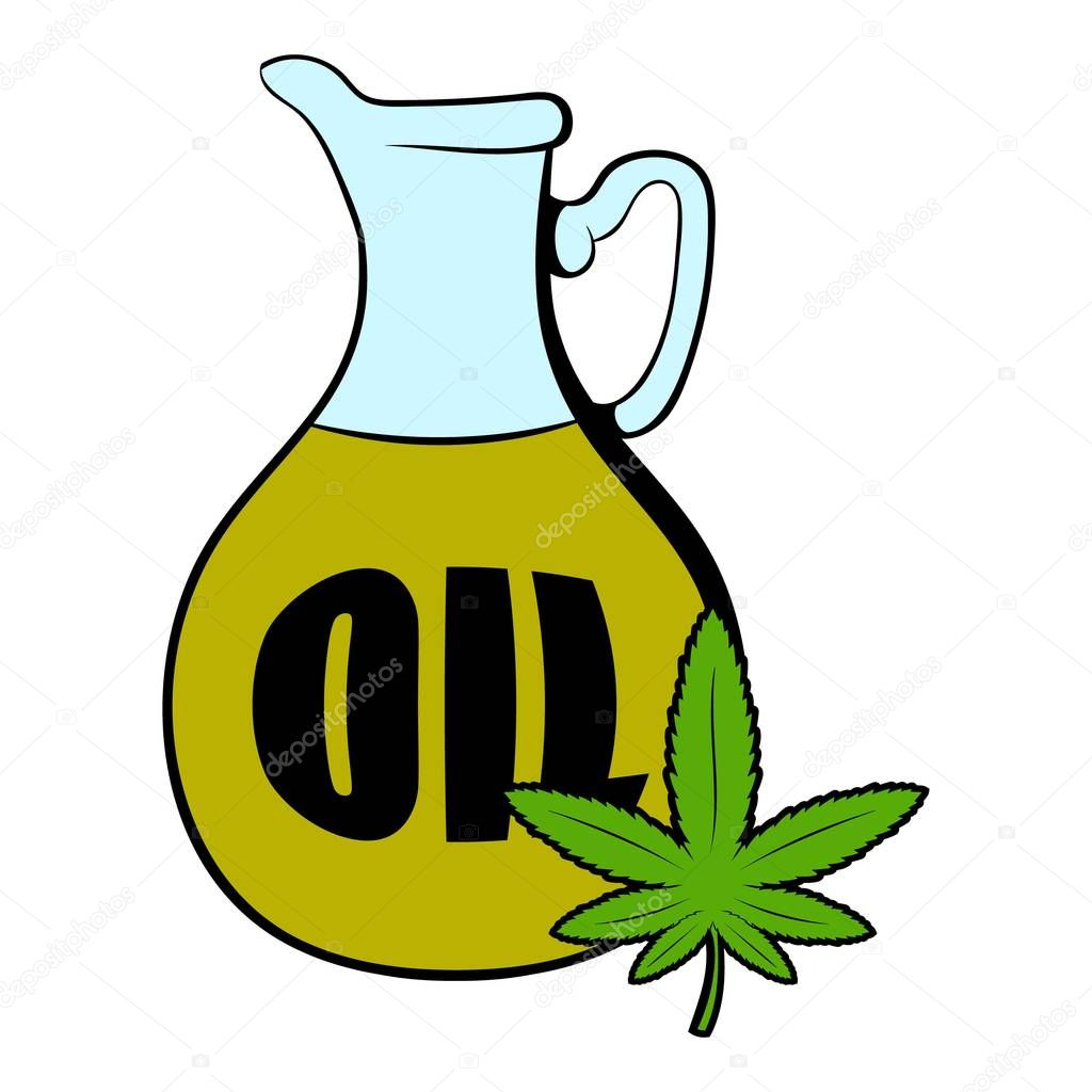 Hemp oil and cannabis leaf icon cartoon
