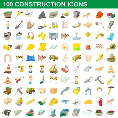 100 construction icons set, cartoon style