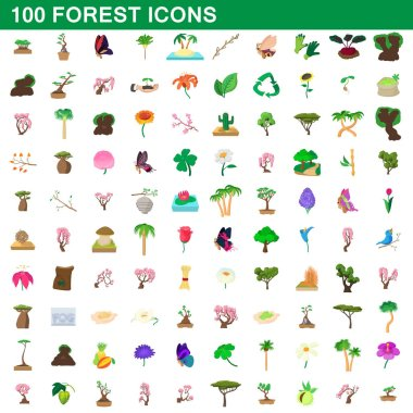 100 forest icons set, cartoon style