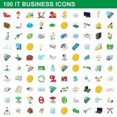 100 it business ikony set, kreslený styl