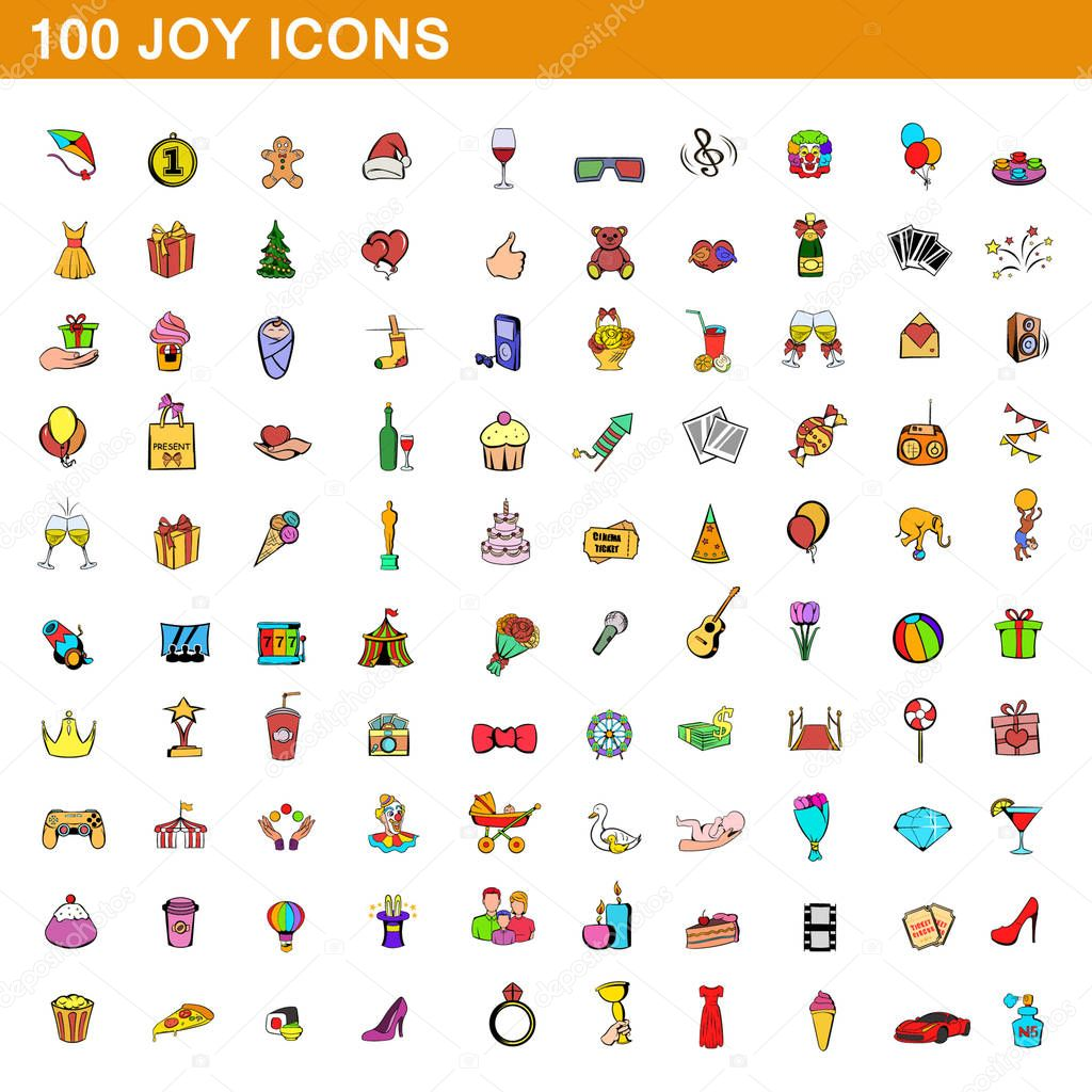 100 joy icons set, cartoon style