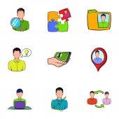 Obchodní vztah ikony nastavit, kreslený styl