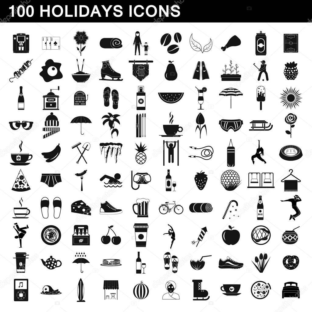 100 holidays icons set, simple style