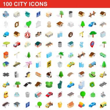 100 city icons set, isometric 3d style