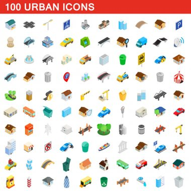 100 urban icons set, isometric 3d style