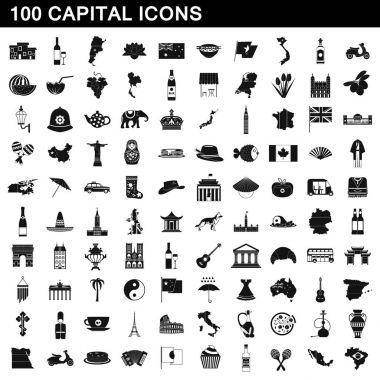 100 capital icons set, simple style