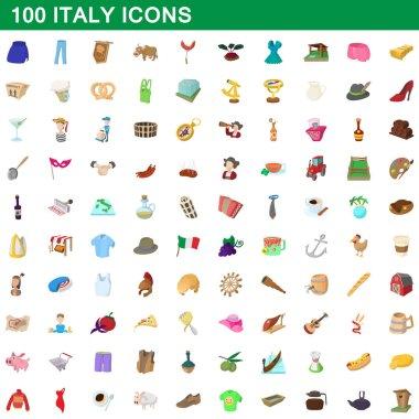 100 italy icons set, cartoon style