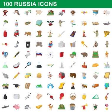 100 russia icons set, cartoon style