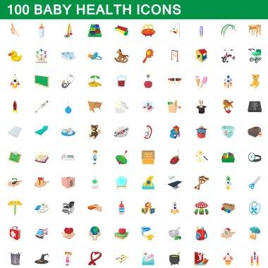 100 baby health icons set, cartoon style