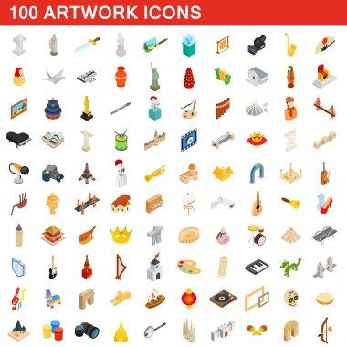 100 artwork icons set, isometric 3d style