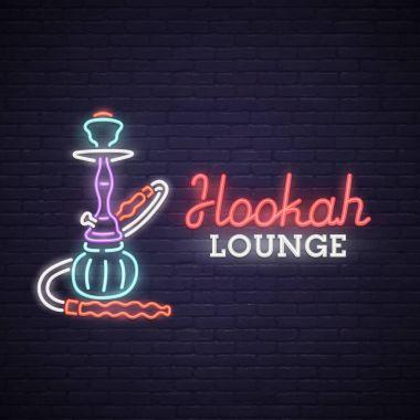 Neon Sign of Hookah. bright signboard, light banner. Hookah lounge logo, emblem.