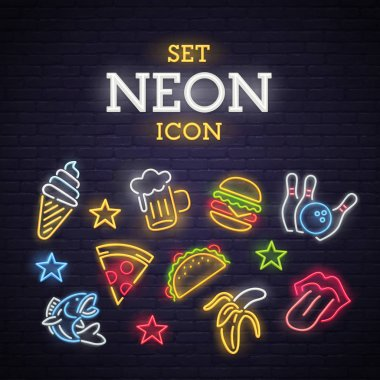 Set neon icon. Neon sign, bright signboard, light banner.