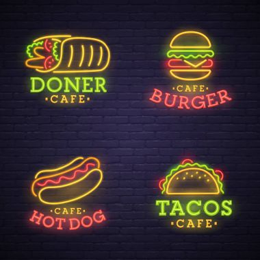 Fast food neon sign. Neon sign, bright signboard, light banner
