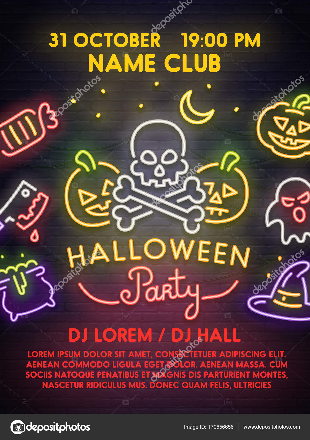 Template poster flyer invitation banner happy halloween poster template poster flyer invitation banner happy halloween poster neon sign bright signboard light banner vector by mar1koff stopboris Images