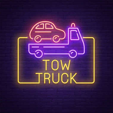 Tow Truck neon sign, bright signboard, light banner. Tow Car logo, emblem and label. Vector illustration