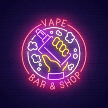 Vape bar neon sign, bright signboard, light banner. Vape logo, emblem. Vector illustration.