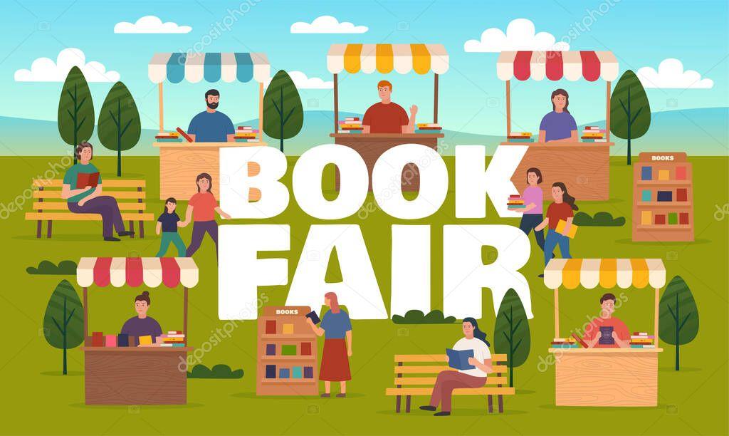 Book Fair On Street Booth Stalls Bookcases Outdoor Fair Market Or Street Book Festival Vector Illustration Premium Vector In Adobe Illustrator Ai Ai Format Encapsulated Postscript Eps Eps Format