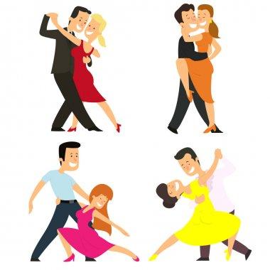 Four couples dancing classical dances.