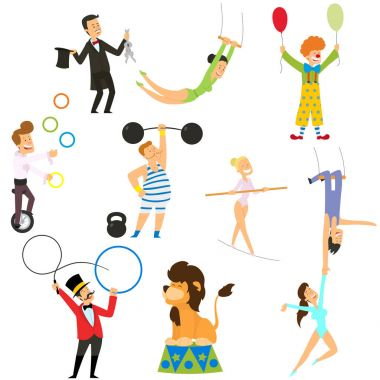 Circus performance decorative icons set