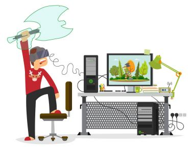 young man playing in a virtual computer game.