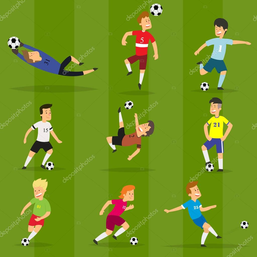 Set of colorful football players on different positions