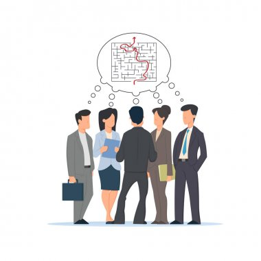 group of people, businessmen and businesswoman discuss the confusing situation together and find a way out of the problem.