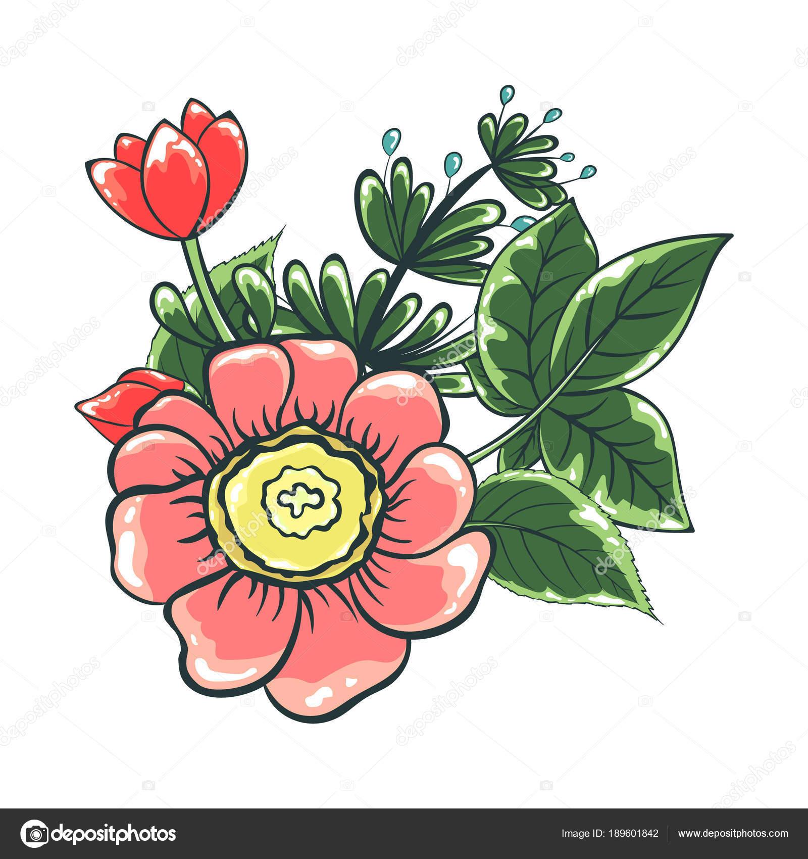 Illustration Vectorielle Bouquet Fleurs Couleur Dessin Des