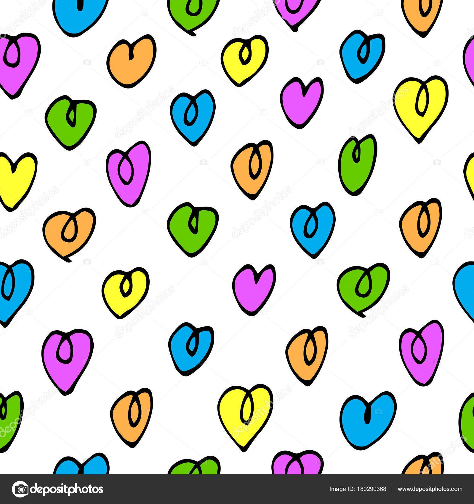 patrón sin costuras Vector con corazones de colores — Vector de ...