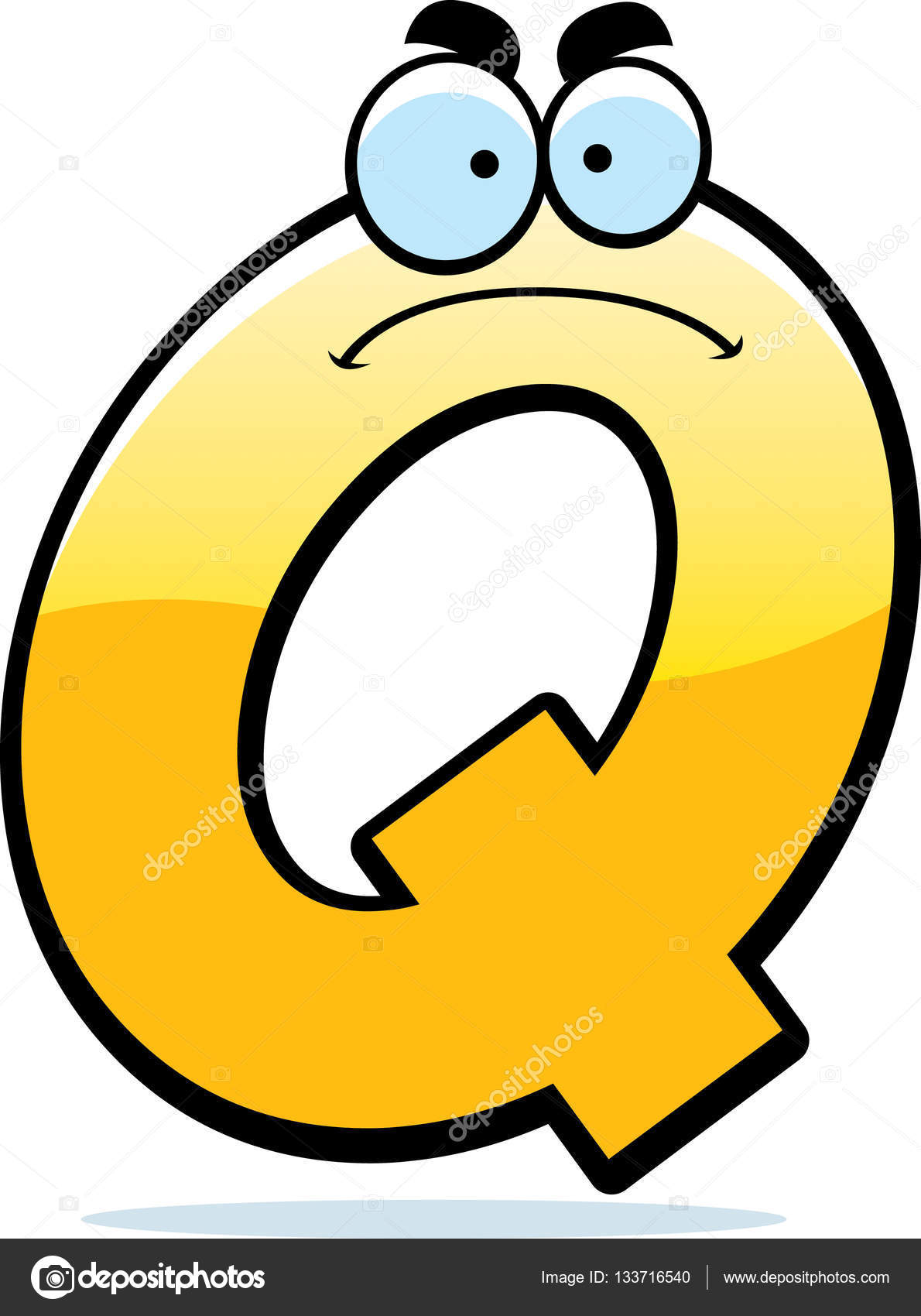 a cartoon illustration of a letter q with an angry expression vector by cthoman