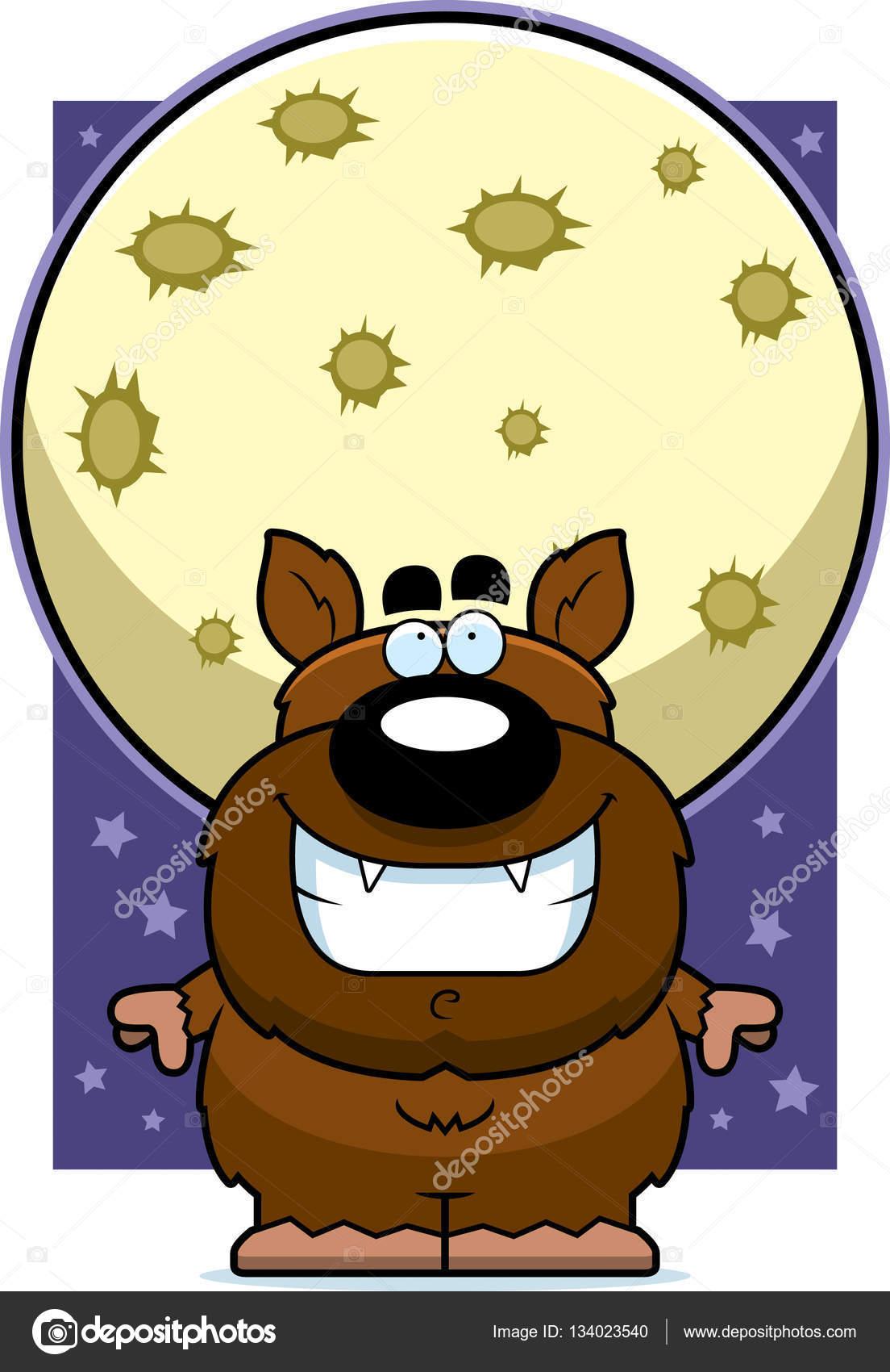 Dibujos Animados Hombre Lobo Luna Archivo Imágenes Vectoriales