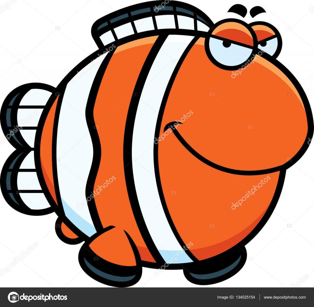 Pez payaso dibujos animados Sly — Vector de stock © cthoman #134025154