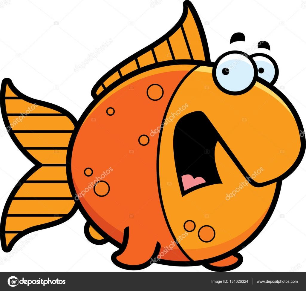 Cartoon asustado Goldfish — Archivo Imágenes Vectoriales ...